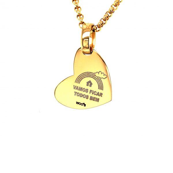 Colar Dourado com Coração 'Vamos ficar todos bem'