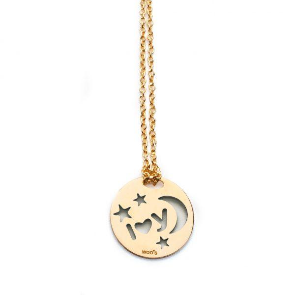 Colar de Prata I♥You/Moon Dourado