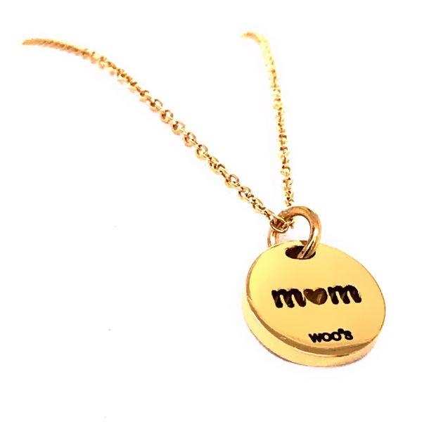 Colar Dourado Charm Mom