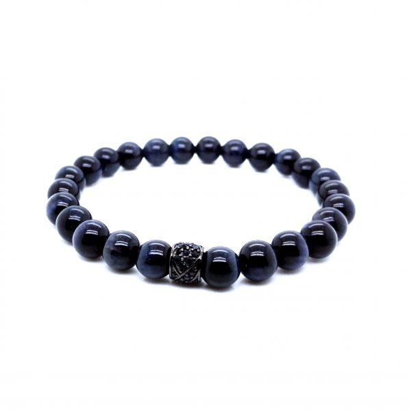 Pulseira pedra Olho Tigra azul com zirkão preto