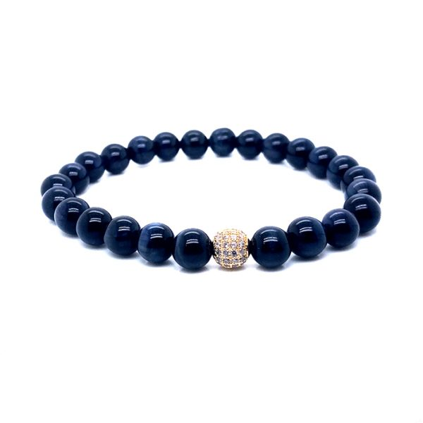 Pulseira pedra Agata azul com zircão