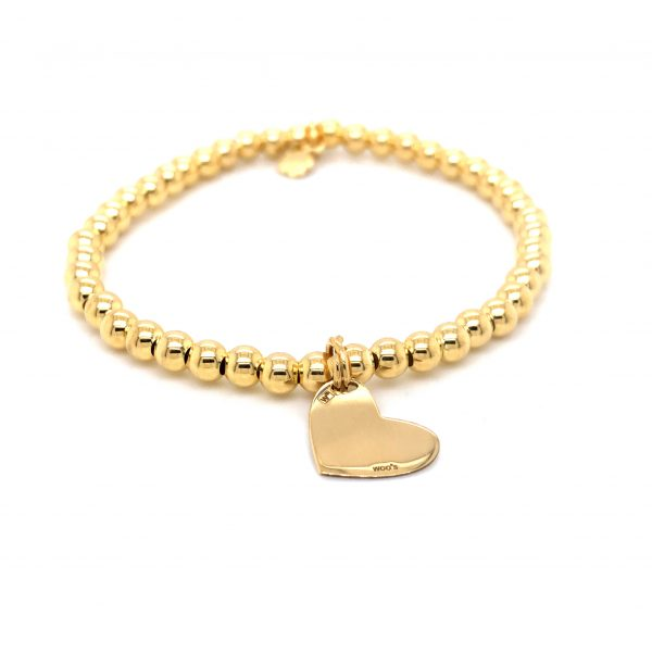 Pulseira Elástica com pendente Heart prata dourada