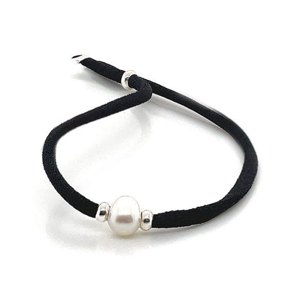Pulseira elastica Black Pearl Prata 925